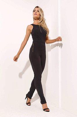 Macacão longo zíper preto
