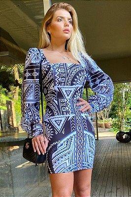 Vestido curto étnico P&B crepe Mônaco elastano
