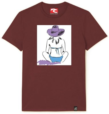 Camiseta Santo Swell Girl sitting on the prais Estampada Manga Curta 4 Cores