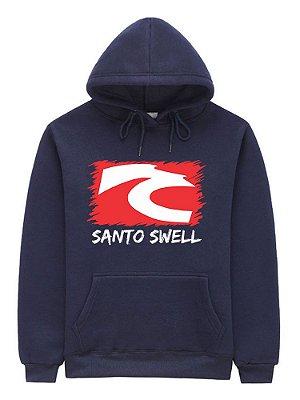 Moletom Masculino Santo Swell Clássico Logo Canguru com Bolso e Touca 4 Cores