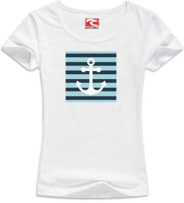 Camiseta Baby look Santo Swell Beautiful Girl Anchor Curta 4 Cores