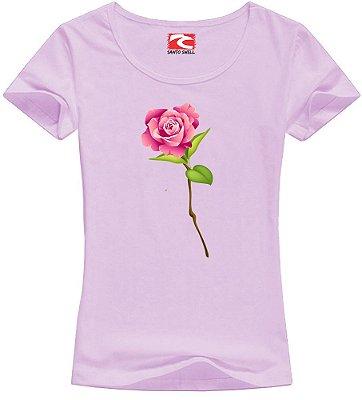 Camiseta Baby Look Santo Swell Pink Flower Love Manga Curta 4 Cores