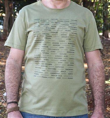 Camiseta em Algodão Orgânico - Estampa Nome de Árvores - Artista Heris Rocha