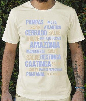 Camiseta Masculina em Algodão Orgânico - Estampa Salve Ecossistema - Artista Heris Rocha