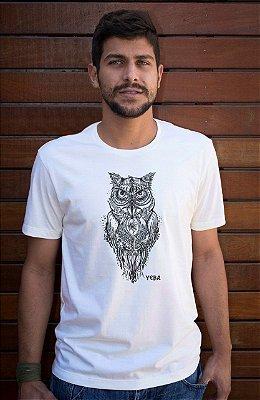 Camiseta Masculina de Algodão Orgânico - Estampa Coruja - Artista David Kelleher