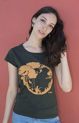 Baby Look Feminina em Algodão Orgânico - Estampa Sucessão Ecológica - Artista Laura Romano