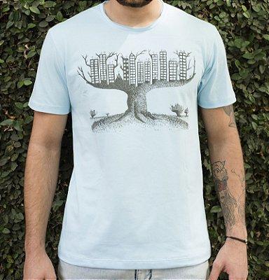 Camiseta Masculina em Algodão Orgânico - Estampa Árvore de Concreto - Artista: Luccas Longo