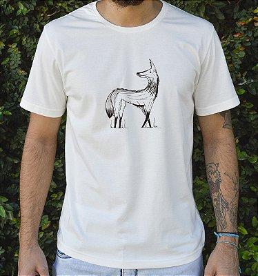 Camiseta em Algodão Orgânico - Estampa Lobo Guará - Artista Felipe Ferreira