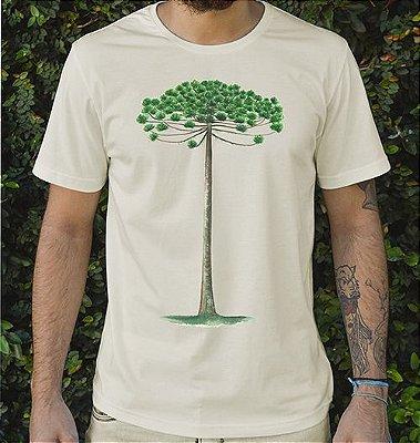 Camiseta Masculina em Algodão Orgânico - Estampa Araucária - Artista: Priscila Fernandes
