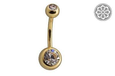 Piercing Banana Bell - Com 2 Pedras - Folheada a Ouro