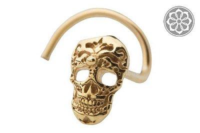 Piercing Nostril com Caveira - Folheado a Ouro