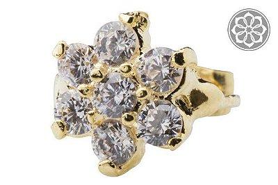 Piercing Hélix com Pedra Flor Folheado a Ouro