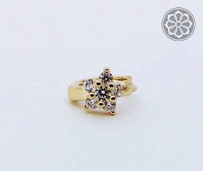 Piercing Microbell Reto com Flor - Folheado a Ouro