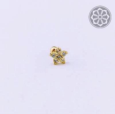 Piercing Microbell Reto com Flower Drop - Folheado a Ouro