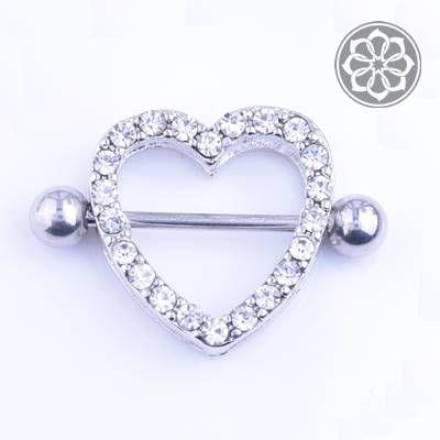Piercing Microbell Reto com Coração em Aço