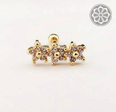 Piercing Microbell Reto Cluster - com Flor - Folheado a Ouro
