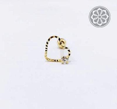 Piercing Coração Vazado com Pedra de Zircônia - Folheado a Ouro