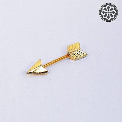 Piercing Microbell Reto de Flecha Dourado