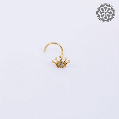 Piercing Nostril com Coroa - Folheado a Ouro