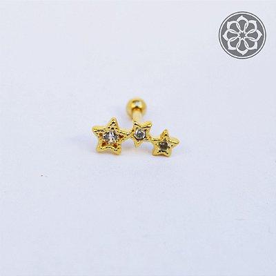Piercing Microbell Reto - com 3 pedras de estrela - Folheado a Ouro