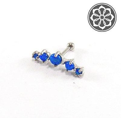 Piercing Microbell Reto Cluster - com 5 pedras de Opala Azul - em Aço