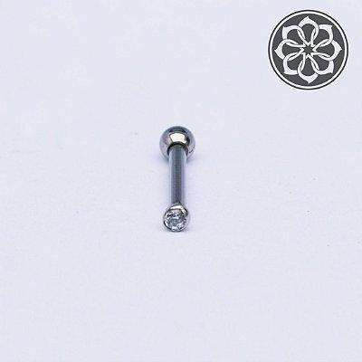 Piercing Microbell Reto com Bolinha em Zircônia - em Aço