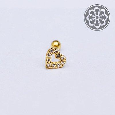 Piercing Microbell Reto de Coração com Pedra de Zircônia - Folheado a Ouro