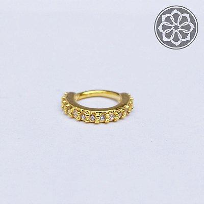 Piercing Hélix com Zircônia - Sem Trava - Folheado a Ouro