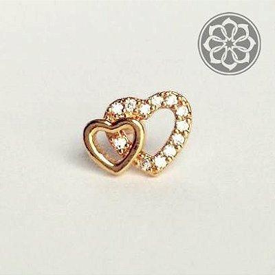Piercing Heart Double Folheado a Ouro