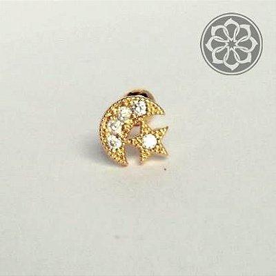 Piercing Microbell Reto de Lua/Estrela com Zircônia - Folheado a Ouro