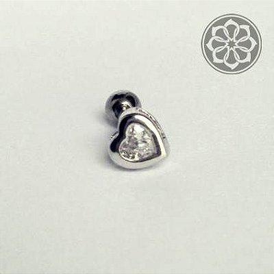 Piercing Microbell Reto de Coração Caixa Alta - em Aço