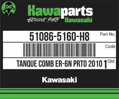 TANQUE COMBUSTÍVEL PRETO ER-6N 2010 - 51086-5160-H8