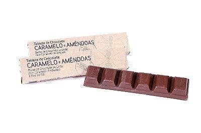 TABLETINHO DE CHOCOLATE, CARAMELO E AMÊNDOAS