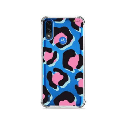 Capa (Transparente) para Moto E7 Power - Animal Print Black & Pink