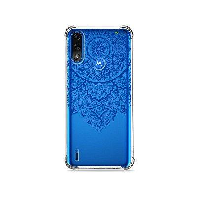 Capa (Transparente) para Moto E7 Power - Mandala Azul