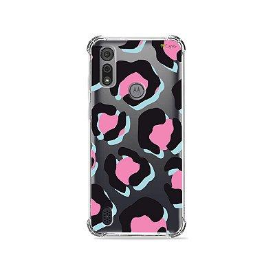 Capa (Transparente) para Moto E6I - Animal Print Black & Pink
