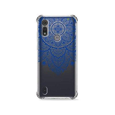 Capa (Transparente) para Moto E6I - Mandala Azul