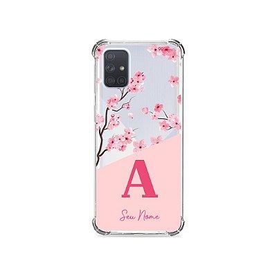 Capinha Cerejeiras com Inicial e Nome para Galaxy Note