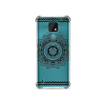 Capa (Transparente) para Moto E7 - Mandala Preta