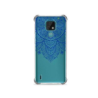 Capa (Transparente) para Moto E7 - Mandala Azul