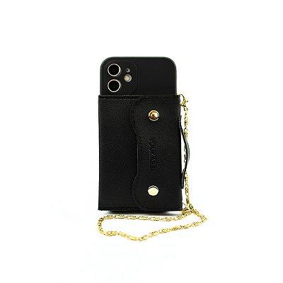 Case Pocket Preta (com alça) para iPhone 12 - 99Capas