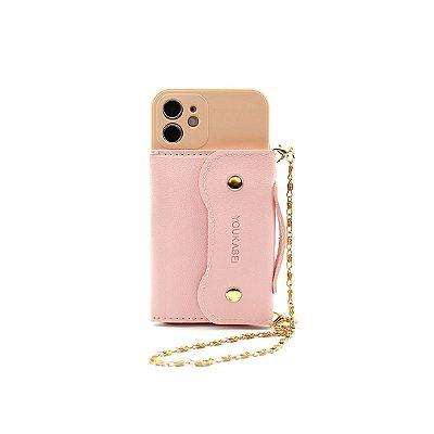 Case Pocket Rosê (com alça) para iPhone 12 - 99Capas