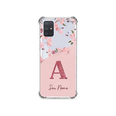 Capinha Cerejeiras Velvet com Inicial e Nome para Galaxy Note
