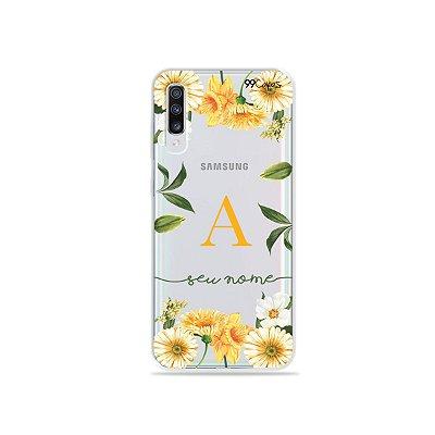 Capinha Margaridas com Inicial para Galaxy Note - 99Capas