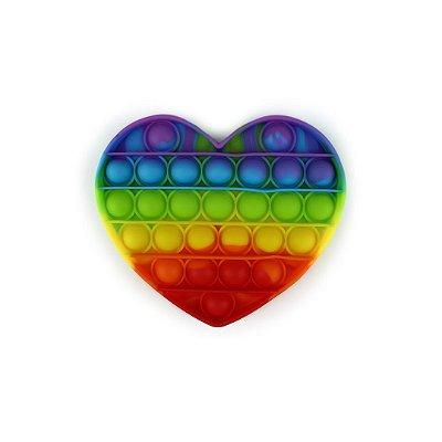 Pop It Arco-Íris Coração (12 cm x12 cm)