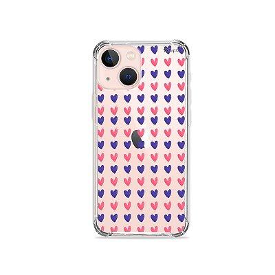 Capa para iPhone 13 - Coracoes Roxo e Rosa