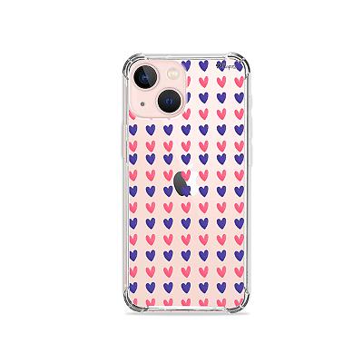 Capa para iPhone 13 Mini - Coracoes Roxo e Rosa