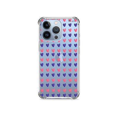 Capa para iPhone 13 Pro Max - Coracoes Roxo e Rosa