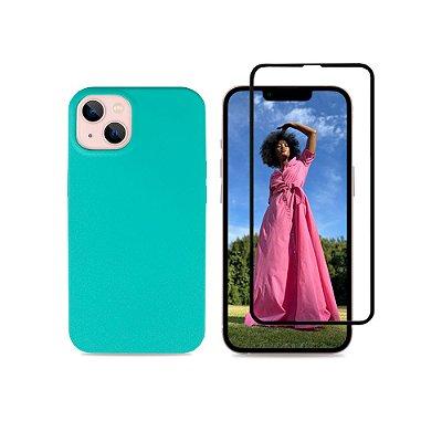Kit Silicone Case Verde Água + Película 3D de Vidro para iPhone 13