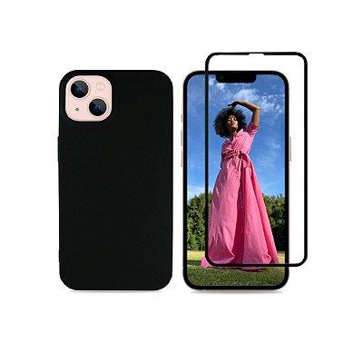 Kit Silicone Case Preta + Película 3D de Vidro para iPhone 13
